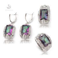 ensembles bijoux SHUNXUNZE femmes mariage (anneau / boucle d'oreille / pendentif) blanc et arc-en-Zircon rhodié R704set taille 6-9