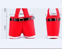 Stokta Santa pantolon tarzı Noel şeker hediye çantası Noel Çanta Hediye Noel Şeker Paketleme Çantası Flanel Çanta Noel Noel H438