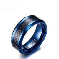 Bulk Hurtownie Blue Wolfram Pierścienie Dla Mężczyzn Zespoły Ślubne 8mm Męskie Węglowe Włókno Węglowe Węglik Węglik Mężczyźni Biżuteria US Rozmiar 7-12