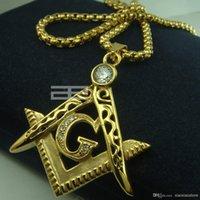 Мужские 18K золото fiiled масонство масонский масонский кулон бесплатная цепь ожерелье N214