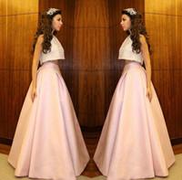 Myriam Fares dos piezas vestidos de baile 2015 una línea de piso longitud rosa vestidos de noche apliques de encaje ocasión especial vestidos de quinceañera
