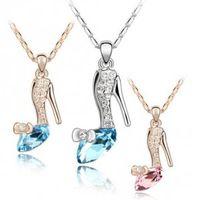 Высокое качество модный золото/посеребренные Кристалл Золушка хрустальная туфелька ожерелье ювелирные изделия для женщин и девочек