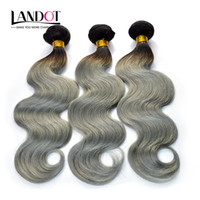 Ombre Silver Grey Human Hair Extensions Two Tone 1B Grey Bra...