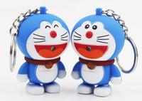 도라에몽 꿈 고양이 휴대 스트랩 키 버클 액세서리 LED 빛나는 열쇠 고리 어린이 날 선물