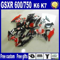 GSX-R 600 750 2006 2007 2007年鈴木レッドブラックラッキーストライクGSXR600 GSXR750 06 07 K6フェアリングセットFS61