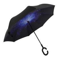 Ветрозащитный обратный закрытие двойной слой перевернутый зонтик и наизнанку вверх ногами защита от дождя ультрафиолетовое доказательство зонтик