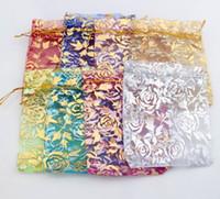 8colors 9x12 cm Gold Rose Design Organza Schmuck Beutel Taschen Süßigkeiten Tasche GB038 Heißer Verkauf