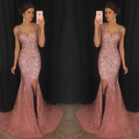 Luxury Rose Pink Bling V Neck Mermaid Formal Prom Dresses Cr...