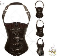 Faux leather Spiral Steel Boned Waist Training Corset Bustie...