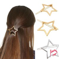 Fashion Women Girls Hollow Pentagram Star Metal Hairpin Hair...