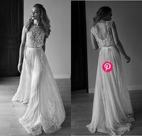 Kristal Cap Kollu Dantel Aplike Şifon Sheer Gelinlik 2015 Ucuz Vintage Bir Çizgi Reem Acra Son Allık Düğün Gelin Kıyafeti