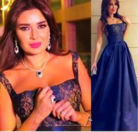 Navy Blue 2015 Straps Lace Evening Dresses 2015 Arabic Myriam Fares Floor Length Cheap Formal Evening Party Dresses Plus Size 2016 BO8694