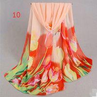 30 Estilos 160X50 cm Nueva moda para mujer Georgette Abrigo largo Gasa Chal Playa Bufanda de seda Bufandas Accesorios de moda 25 unids