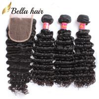 Bella Hair 100% sin procesar paquetes de cabello peruano con cierre de encaje 3 unids Onda profunda ondulada 4x4 Cierre de encaje Parte libre con pelo de bebé