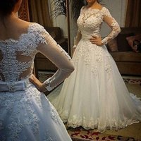 Real Picture vestido de noiva Wedding Dresses 2016 Ball Gown Sheer Scoop Appliques Tulle Lace Pearls Long Sleeves Bridal Gown Dresses Custom