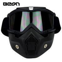 2016 Yeni Otantik Beon Retro Modelleri Off-Road Motosiklet Kask Gözlük Çapraz Ülke Anti-sis Gözlük Maske Siyah Renk