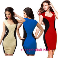 2014 new hot significant figure stitching V- neck dress elega...