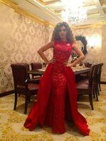 아랍어 Muslism Myriam 요금 드레스 2015 쉬머 레이스 분리형 치마와 저녁 연예인 드레스 레드 카펫 드레스 할로우 파티 드레스