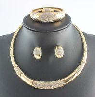 Costume tendance Cristal Collier Bracelet Boucles d'oreilles Bague Dubaï Plaqué Or Mariage Africain Ensembles de Bijoux