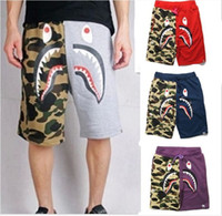 BAPE Camouflage Shark Head Shorts Fashion Men Hip Hop Street...