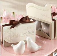 100pcs = 50sets Uccelli amore nella finestra di ceramica sale pepe Wedding favore per il regalo del partito con scatola regalo al minuto DHL / Fedex