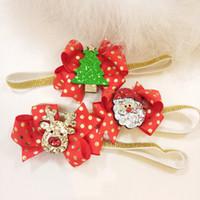 Europa Kind Weihnachtsbaum Deer Haarschmuck Kinder Turban Mädchen-Bogen-Stirnband-Blume Haarspange Geschenk