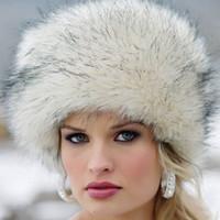 Al por mayor-venta caliente de las señoras del invierno del sombrero caliente de las mujeres sombrero de piel de imitación de imitación de piel de zorro orejeras sombrero grande Cap Dome Cap nieve