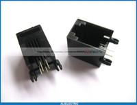 100 개 52 4P4C 모듈러 네트워크 PCB 잭 커넥터 사이드 엔트리, 플랜지 없음