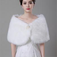 Vestes de manteau de châle en perles blanche pour châle de mariage hiver de mariée châle en fausse fourrure 2016 Nouvelle arrivée