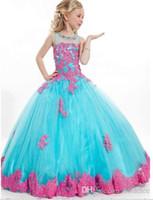 2015 новое поступление маленькая девочка бальное платье совок аппликация мерцание театрализованное длина пола девушки цветка платья для детей выпускного платья