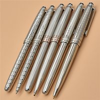 Высокоизмеренная перо текстура серебристого металла 163 ручки стационарные принадлежности роликовый шар / шариковая для подарков с серийным номером