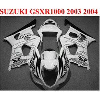 뜨거운 판매 플라스틱 SUZUKI 2003 용 페어링 키트 2004 GSXR1000 페어링 세트 K3 GSX-R1000 03 04 흰색 검정색 코로나 바디 키트 CQ90