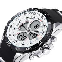 Marca de alta qualidade top silicone esporte homens relógios à prova d 'água de quartzo dos homens relógio preto casual relógios de pulso