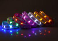 Dauerhafte 2,5 cm Hundehalsbänder Haustiere Hund Lichter Flash Night Safety Nylon Halsband Einstellbare LED Halsband LED Nylon Halsband