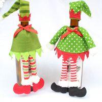 Wholesale- 1 Set bottiglia di vino rosso Natale Decor Polka Dot / Stripe Borse della copertura della bottiglia di vino rosso per la casa Festa di Natale forniture di decorazione