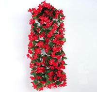 Simulación de flores canasta de ratán Chlorophytum violeta colgante de pared boda decoraciones para el hogar vid flor artificial