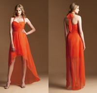الجبهة قصيرة طويلة العودة خط الرسن عالية فساتين العروسة المنخفضة مخصص أي لون أو حجم البرتقال اللباس وصيفه الشرف 2015