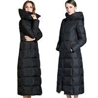 Alargar el abrigo de invierno de las mujeres Winterjacke parka sobre la rodilla gruesa suelta cálida talla grande chaqueta de plumón de Canadá 90% abrigos de pato blanco mujer