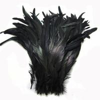 Nero Coque del gallo della piuma di coda del gallo della piuma di coda colore nero fai da te piuma piume di cerimonia nuziale 30-35cm Piume 12-14 pollici Rooster Trims