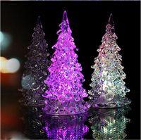 Süper Güzel Mini Akrilik Buzlu Kristal Renk Değiştirme LED Lamba Işık Dekorasyon Noel Ağacı Hediye LED Masa Dekor / Masa Lambası Işık