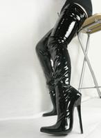 Vente chaude Sexy Bouts pointus 18cm Spike Talon Haut Cuisse Haute Aux Fesses Pour Femmes Noir Vernis PU Bottes En Cuir COS Stage de Vente