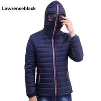Al por mayor-Lawrenceblack chaquetas de invierno Parkas hombres con gafas acolchados capa con capucha Mens Warm Camperas niños a prueba de viento chaqueta acolchada 839