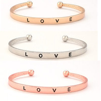 Free Shipping 3 Colors simple love opening alloy Bracelet Si...