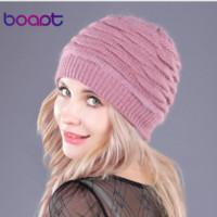 [Boapt] Мягкая Кролик Дважды Вязание Толстые Bonnet Beanie Caps Твердотопливные Теплые зимние шапки для женщин S Cap Skullies Шапочки Женский Hat
