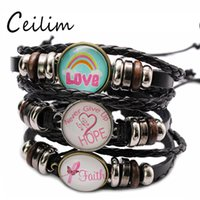 Pink Breast Cancer Awareness Charms Leather Bracelet Cute Lo...