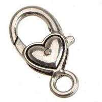 걸쇠 토글 팔찌 목걸이 걸이 DIY 잠금 금속 골동품 은색 이중 심장 사랑 큰 작은 보석 액세서리 랍스터 100pcs