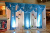 3 * 4M حفل زفاف الجليد الحرير نسيج القماش الأبيض اللون الأزرق مع غنيمة المرحلة الدعامة الأزياء الستارة ستارة خلفية