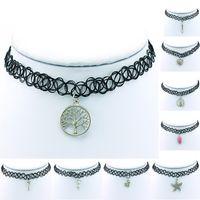 Neue Ankunft Choker Halskette Mode Multilayer Schwarz Netzwerk Dangle Mix Style Charms Erklärung Kurze Halskette Schmuck