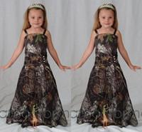 2016 Vestidos de la muchacha de flor de Camo de la moda para el banquete de boda 2015 Muchachas de la flor del bosque del camuflaje Ropa por encargo Vestidos de la niña