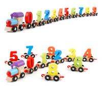 الأطفال الصغار الرقمية قطار خشبي صغير 0-9 عدد أرقام نموذج القطار قطار خشبي أطفال تجميع لغز اللعب